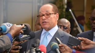 Léon Kengo Wa Dondo, président du Senat congolais le 17/06/2015 à la cité de l'union africaine à Kinshasa lors des consultations organisées par le Président Joseph Kabila. Radio Okapi/Ph. John Bompengo